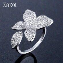 ZAKOL-Anneaux ouverts en Zircon cubique AAA, bijoux de luxe, Micro-arrangement de Rose, en forme de fleur, grands doigts pour femmes, FSRP2034