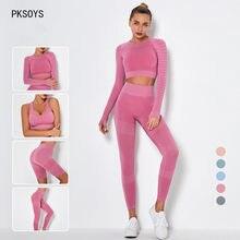 2/3/4 pçs conjuntos de yoga sem costura das mulheres correndo roupas de treino esportivas cintura alta leggings feminino ginásio de fitness fatos de treino