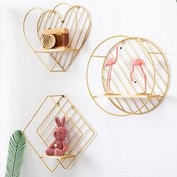 Estilo nórdico ferro rhombic redondo coração em forma grade prateleira de parede pendurado decorativo rack armazenamento titular figura sala estar decoração 1 pc
