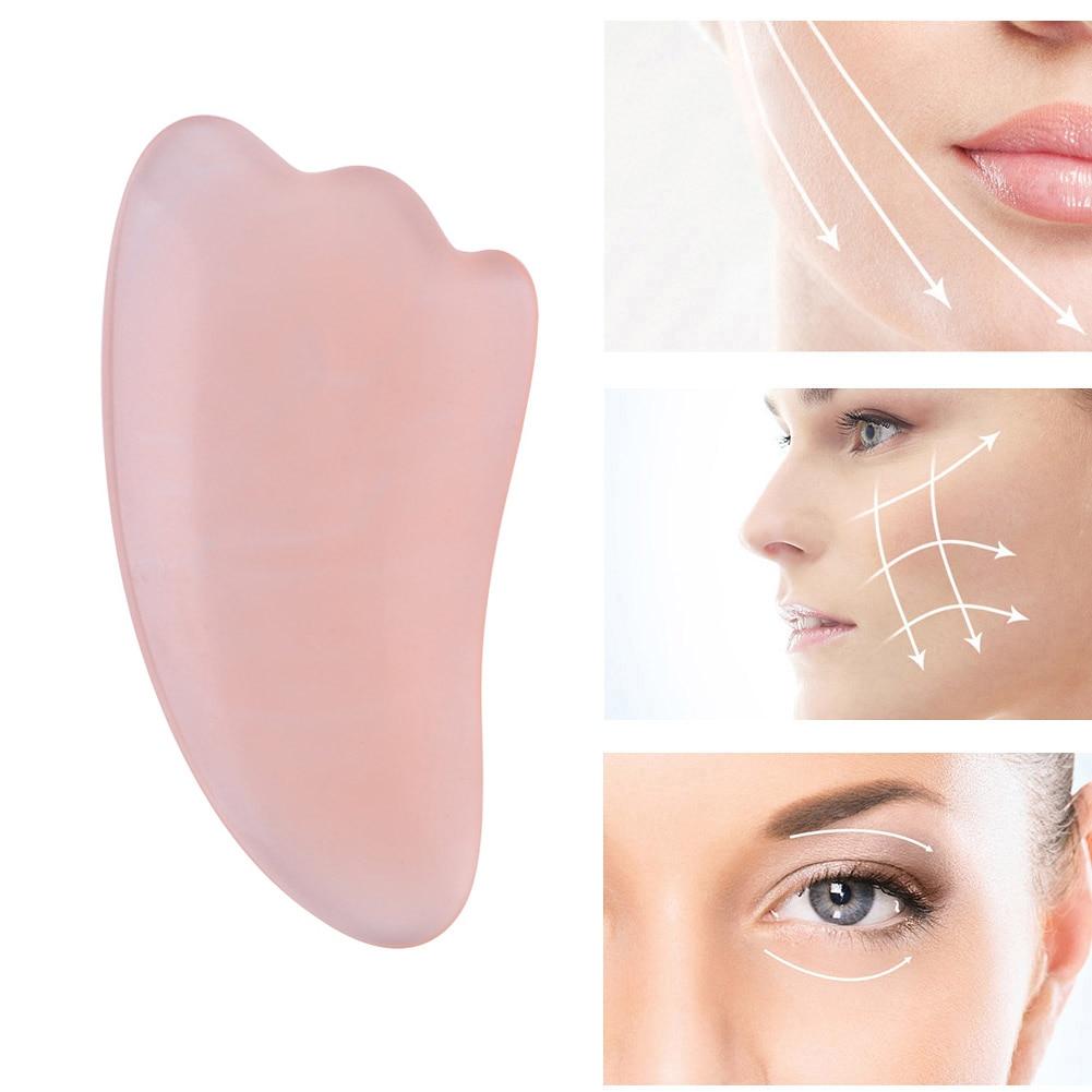 Rose Quartz Natural Resin Beeswax Guasha Jade Edge Body Massager Crystal Energy Stone Scraper For Blood Circulation Health