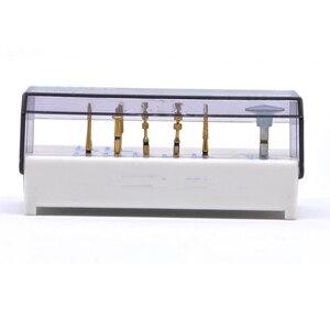 Image 3 - 7 stücke + 1 weiß block Natürliche Korund Drei Schicht Überzug Dental Diamant Hohe Geschwindigkeit FG Bur Bohrer für Porzellan laminat Veneers