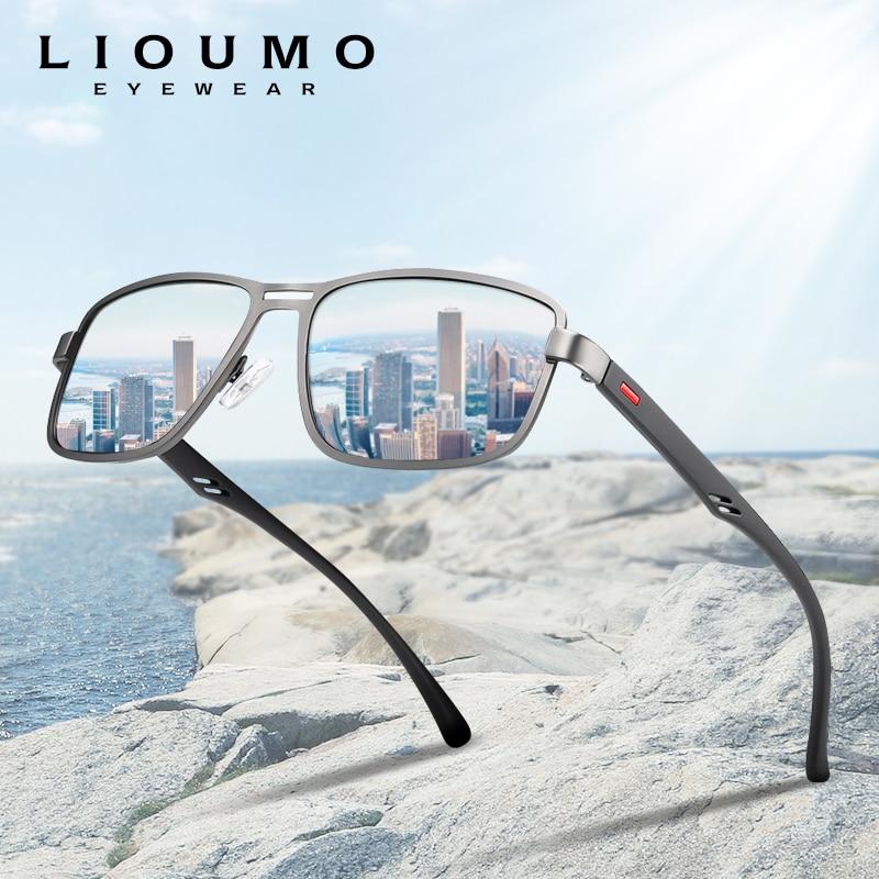 LIOUMO 2020 moda güneş gözlükleri erkekler polarize kare Metal çerçeve erkek güneş gözlüğü sürüş balıkçılık gece görüş zonnebril heren