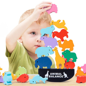 Bloque de equilibrio de animales de madera Montessori para niños, juguete de...
