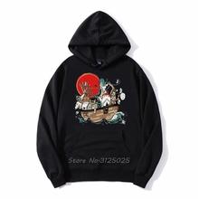 Studio Ghibli Hayao Miyazaki duch dala brzoskwiniowy kwiat bluza z kapturem Anime Kawaii Totoro Cartoon mężczyźni bluza polarowa z kapturem Streetwear tanie tanio CN (pochodzenie) Pełna Na co dzień Drukuj REGULAR hooded zipper COTTON Octan NONE