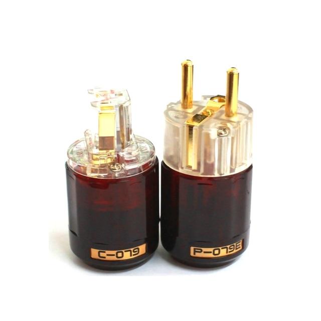 Hifi Oyaide conector de Audio C 079 Schuko, enchufe de alimentación europeo de 24k, chapado en oro, Conector de audio IEC hembra macho, transparente