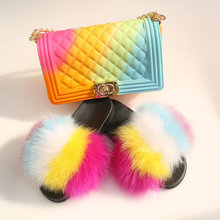 Women Shoes Real Fox Fur Slippers Rainbow Colored Cute Travel Color Jelly Bag Set