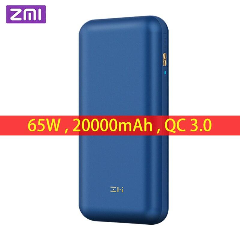 Внешний аккумулятор ZMI QB823, 65 Вт, 20000 мА/ч, PRO, QC 3,0, быстрая зарядка для ноутбука, для Xiaomi Mi 9, iPhone 11, переключатель
