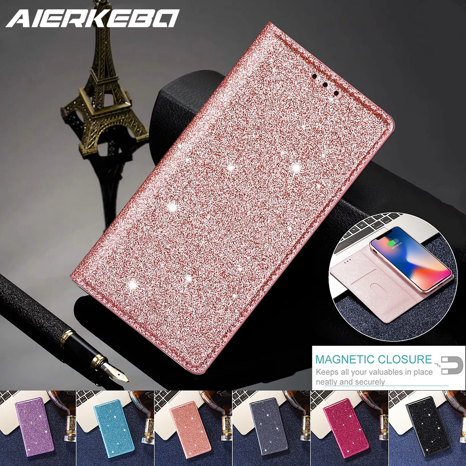 <font><b>Glitter</b></font> Leather Magnetic Flip Case for <font><b>IPhone</b></font> X Xr Xs 11 Pro Max Bling Wallet Card Holder Book Cover for <font><b>IPhone</b></font> <font><b>8</b></font> 7 6 Plus SE 2 image