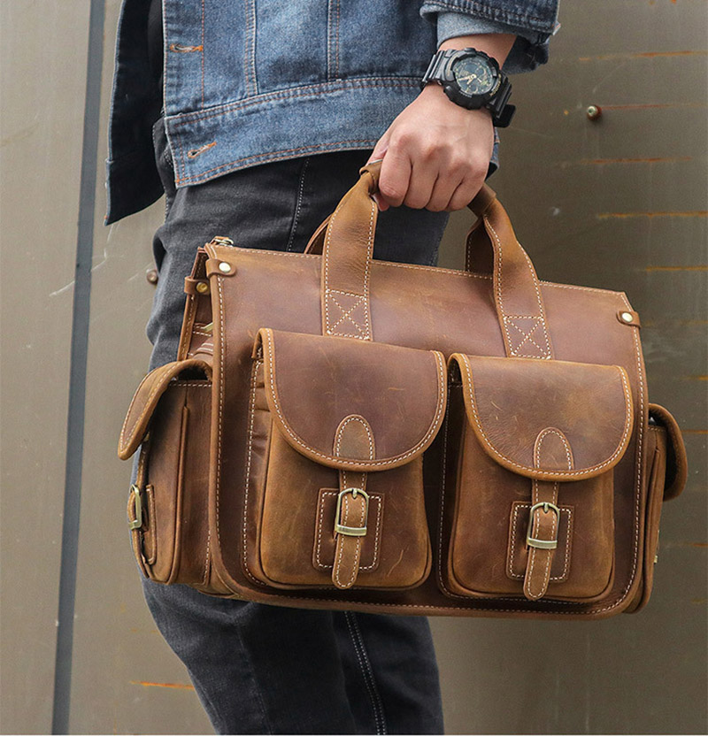 Luufan 2019 New Hot Leather Men Brief Case 2 Front Pockets Business Handbag 13.6 Inch Laptop Notebook PC Handbags Men Male Bag