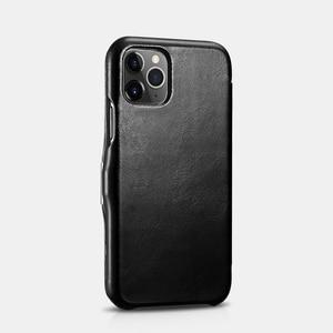 Image 2 - Retro Luxury Genuine Leather Metal Magnetic Flip Case for iPhone 11 Pro Max Xs Max XR X 8 7 Plus SE Original Mobile Phone Cover
