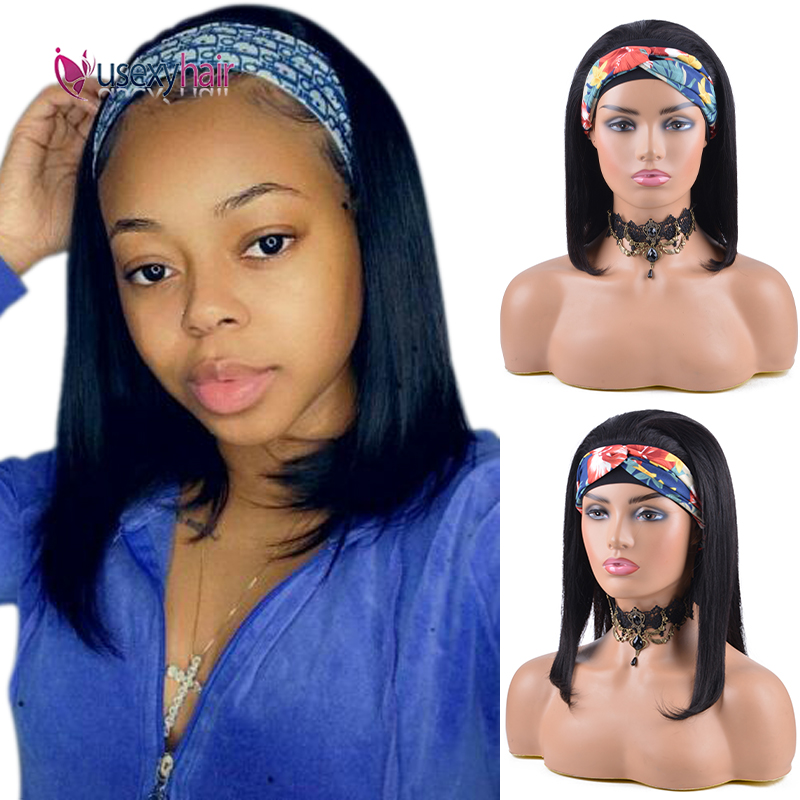 Straight Bob Human Hair Headband Wigs for Black Women Brazilian Natural Color Short Bob Wig Full Machine Remy Glueless Scarf Wig