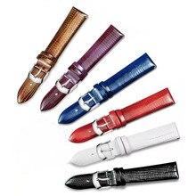 7 cores couro genuíno correias unissex pulseira 12mm 14mm 16mm 18mm 20mm 22mm design lagarto padrão vermelho pulseira de banda de substituição