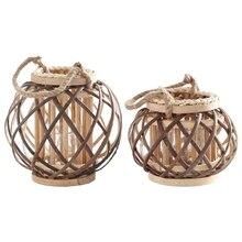 Retro Hand-woven Twine Wicker Lantern Tealight Holder Vintage Wooden Hanging GXMA