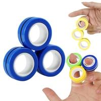 Anillos magnéticos antiestrés para niños y adultos, juguetes mágicos, pulsera antiestrés, descompresión, alivio, juguete para chico