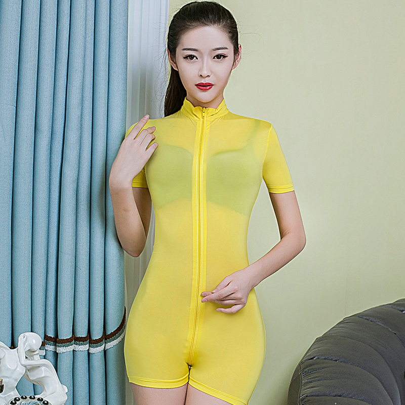 Double Zipper Playsuits Women Short Sleeve Slim Bodysuit Open Crotch Erotic Sheer Overalls Night Club See Through Sexy Costumes