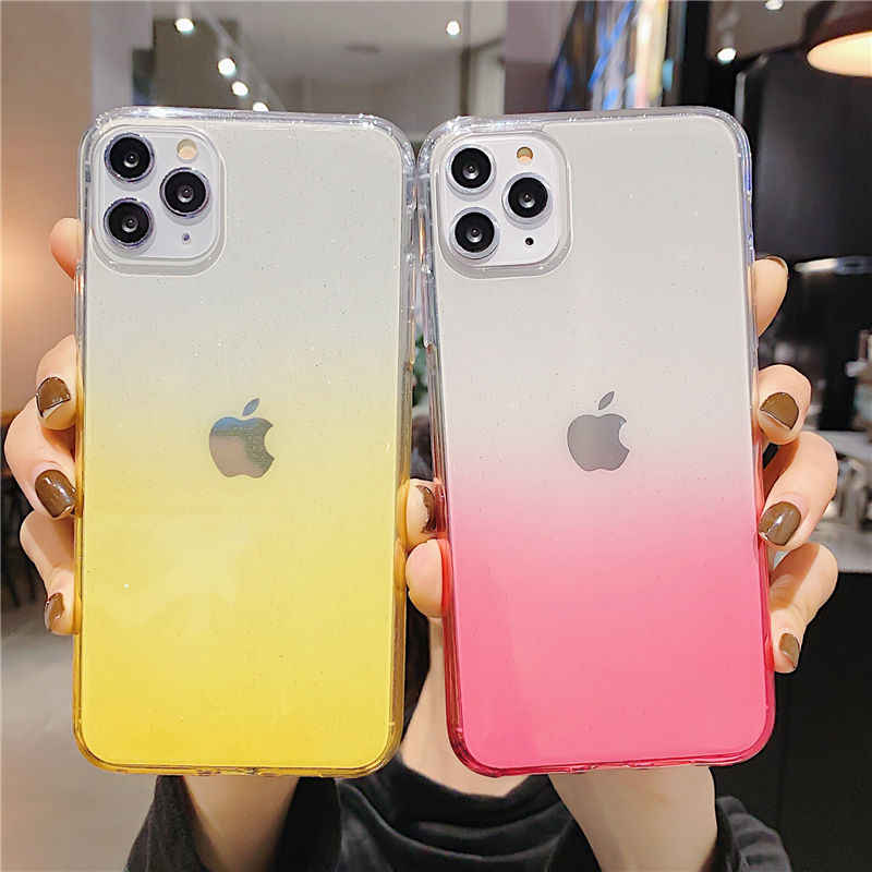 Shining Glitter สำหรับ iPhone 11 111 PRO MAX XR XS MAX X 8 7 6 6S PLUS Gradient Soft TPU กรณี 11 Pro