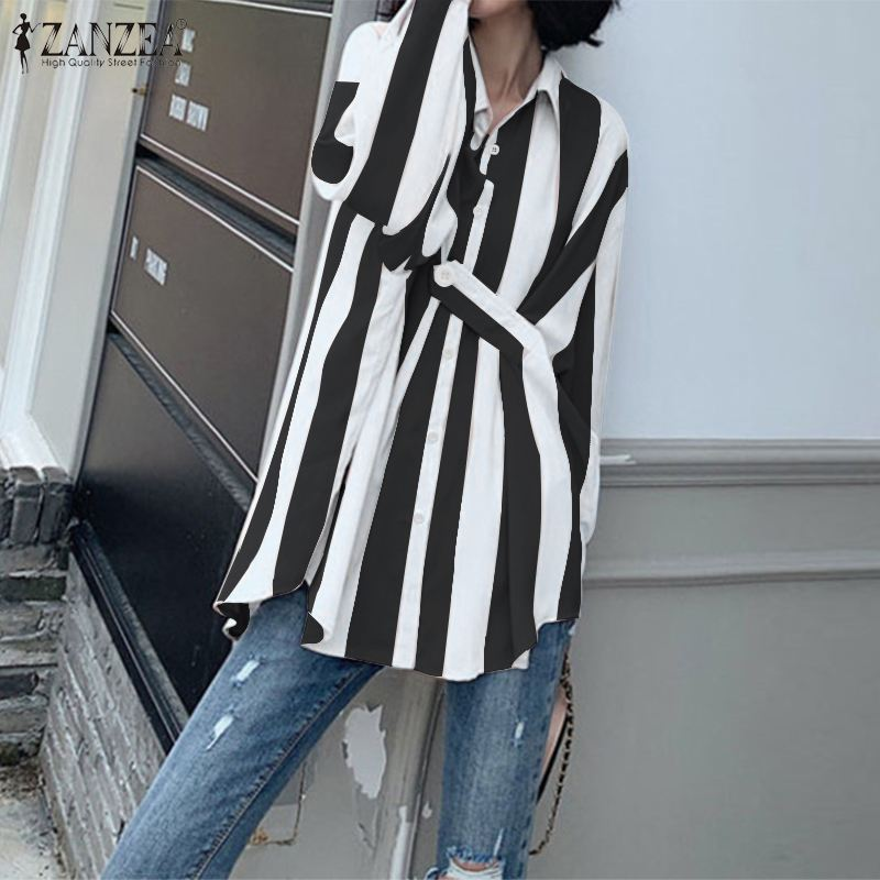ZANZEA 2020 Spring Women Casual Striped Shirts Ladies Fashion Blouse Lapel Work Chic Blusas Long Sleeve Tunic Tops Plus Size 7