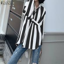 ZANZEA 2020 Frühling Frauen Casual Striped Shirts Damen Mode Bluse Revers Arbeit Chic Blusas Langarm Tunika Tops Plus Größe 7(China)