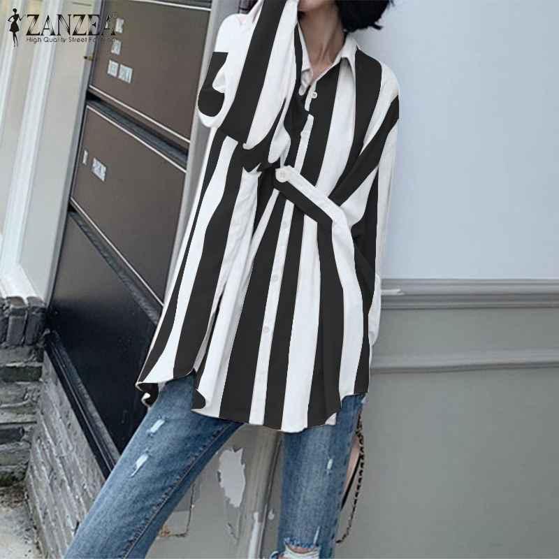 ZANZEA 2020 אביב נשים מקרית פסים חולצות גבירותיי אופנה חולצה דש עבודה שיק Blusas ארוך שרוול טוניקת חולצות בתוספת גודל 7