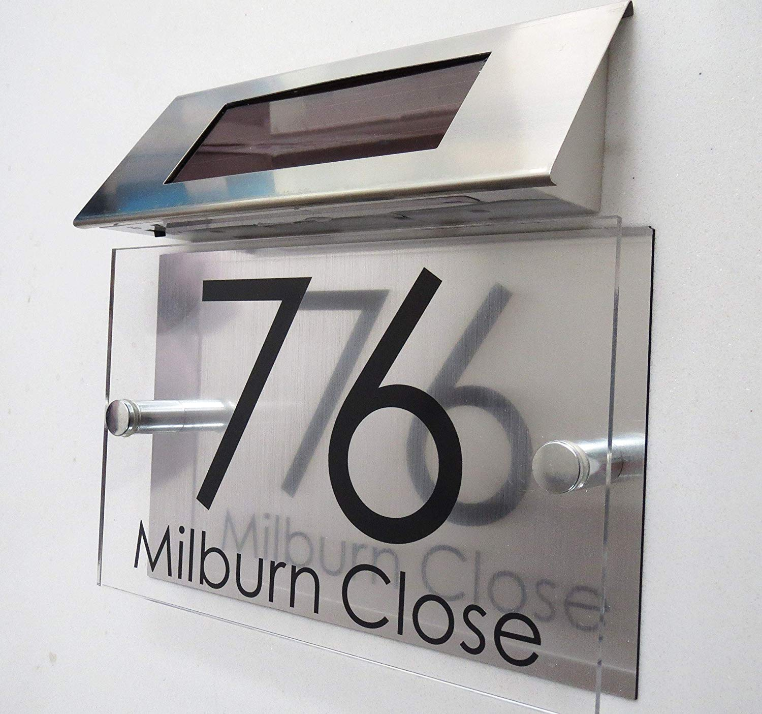 MODERN HOUSE SIGN PLAQUE DOOR NUMBER GLASS ACRYLIC ALUMINIUM SOLAR LIGHT  Home Décor Modern Home Décor Plaques & Signs