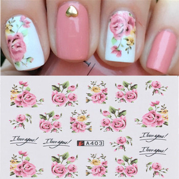 2 Pcs Nail Stickers 3D Charming Rose Flower Water Transfer Nail Art Sticker Full Wraps Nail Tips Decals DIY Nail Art Decorations kads 35sheets new design flower cartoon lace water nail stickers water transfer nail art decals beauty full wraps manicure