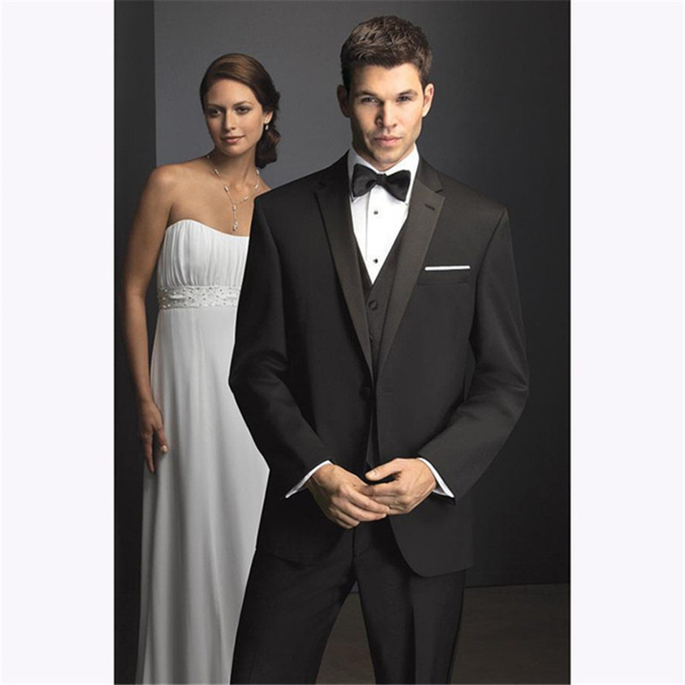 New Classic Men's Suit Smolking Noivo Terno Slim Fit Easculino Evening Suits For Men One Button Black Groom Tuxedos  Bridegroom