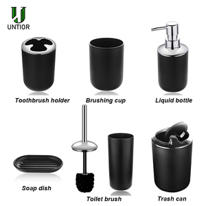 Image 3 - UNTIOR 6 Pcs Plastic Bathroom Accessories Set Toothbrush Holder Toothbrush Cup Soap Dispenser Soap Dish Toilet Brush Trash Can