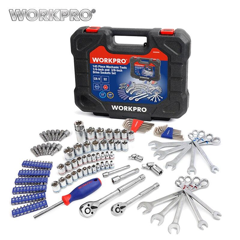 Workpro ferramentas de reparo do carro ferramenta mecânica conjunto soquetes conjunto ferramentas para chaves de fenda automóvel métrica sae chave catraca chaves manuais ferramentas