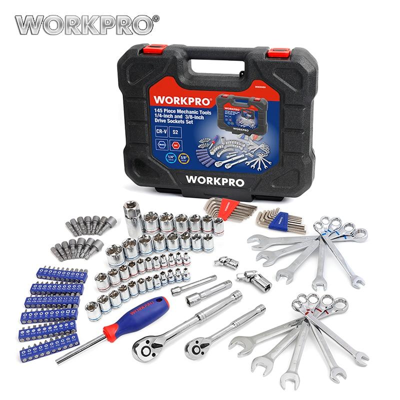 WORKPRO 車の修理ツールメカニックセットツールソケットセット自動車ドライバーメトリック SAE レンチラチェットスパナハンドツール  グループ上の ツール からの 工具セット の中 1