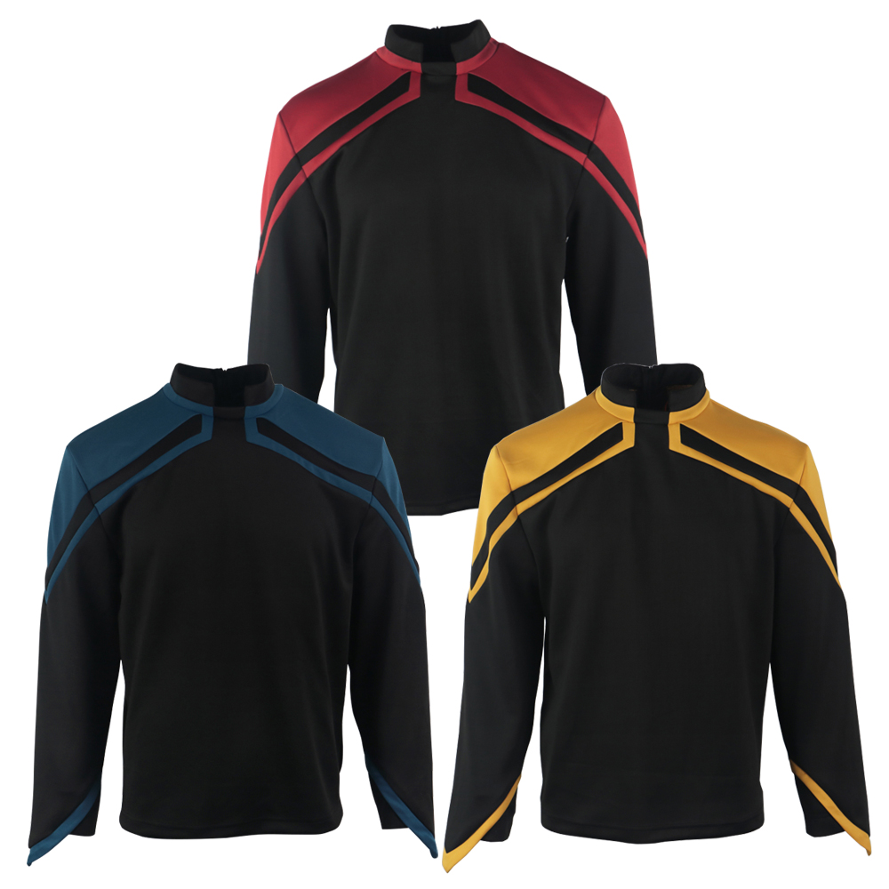 Star Admiral JL Picard Uniform Trek Cosplay Startfleet Male Red Gold Blue Men Top Shirts Coat Adult Halloween Costume Prop