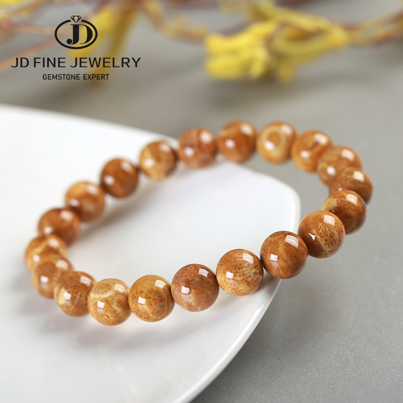 JD Unique Style Natural fossilized Coral Stone Bracelet Wholesale High Quality Jewerly Simi Precious Stone Bracelet 18-19cm