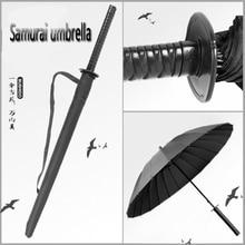 New Japanese Samurai Sword Long Handle Umbrella Sunscreen Waterproof Semi-automatic 8-24K Strong Windproof Umb
