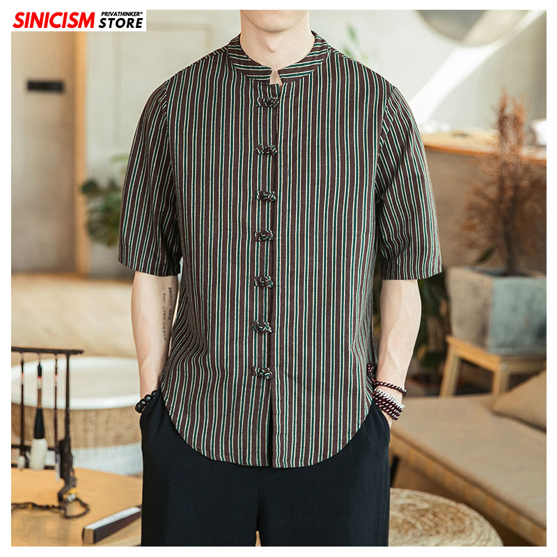 Sinicism Store Autumn Men Striped Buckle Casual Shirts Mens 2019 Long-sleeve Shirt 2019 Male Oversize Chinese Style Tops Clothes