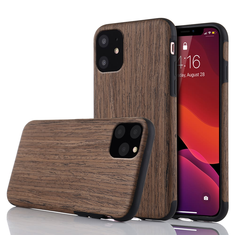 Slim Wood Grain Silicon Glitter Bumper Cover Wooden Case for iPhone 12 Mini