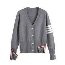 Cárdigan de manga larga para mujer, suéter de estilo coreano Y2k, Tops, ropa de rayas Kawaii de punto de gran tamaño, 2021