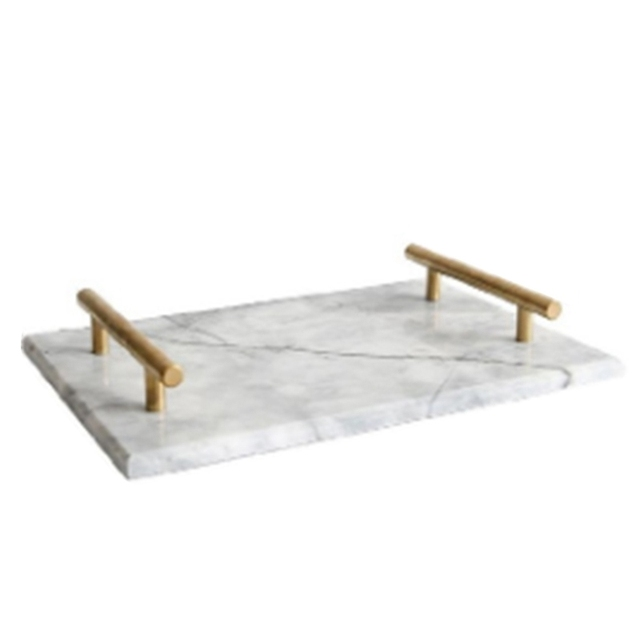 Nordic Style Gold Plated Handle Ceramic Marble Tray Storage Tray Storage Board Cake Dessert Plate Sushi Plate Jewelry Display Tr