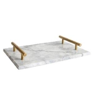 Image 1 - İskandinav tarzı altın kaplama kolu seramik mermer tepsi depolama tepsisi depolama kurulu kek tatlı tabağı suşi tabağı takı ekran Tr