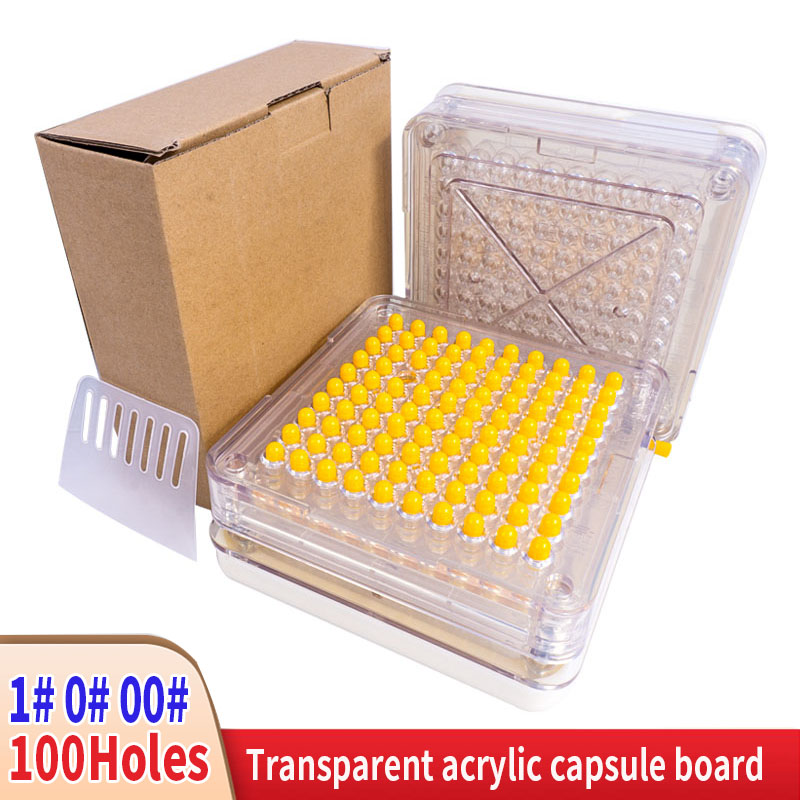 1 #0 #00 #100 agujero Máquina manual de llenado de cápsulas cápsula acrílica transparente Placa de relleno Cápsula de relleno Placa de llenado