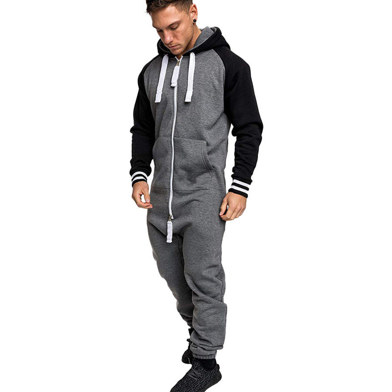 Autumn Jumpsuit Men Long Sexy Playsuit Long Sleeve One-piece Garment Non Footed Pajama Set Hoodie Warm Fur Sweatshirt