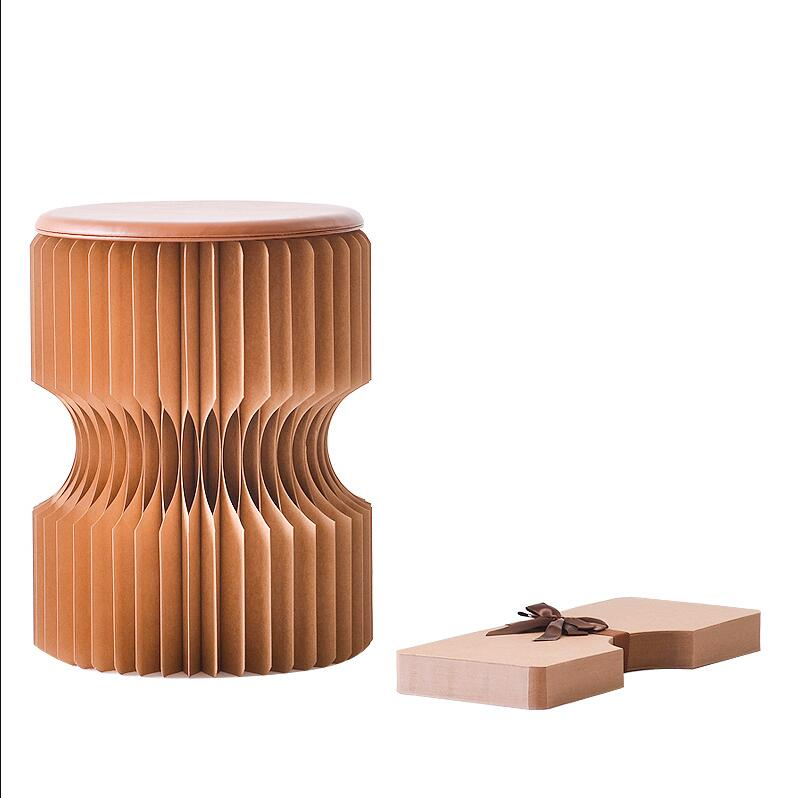30x43cm Folding Kraft Paper Stool Paper Seat Ideal For School,Living Room Low Stool Chair For Fitting Room, Exhibition Halls