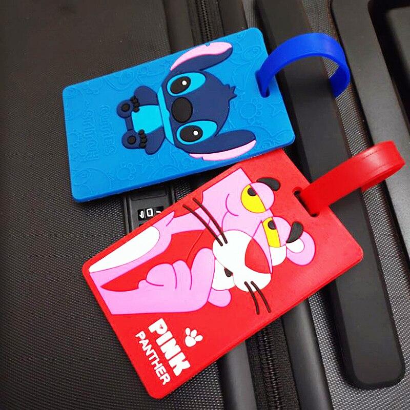 New Fashion Lovely Cartoon Luggage Label Creative Baggage Identification Card Tag Durable Soft Silica Gel ID Addres Holder Label