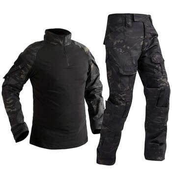 Camouflage Combat Shirt Pants Suit Military Tactical Uniform US Army BDU Multicam Black Men Airsoft Sniper Camo Hunting Clothes 1