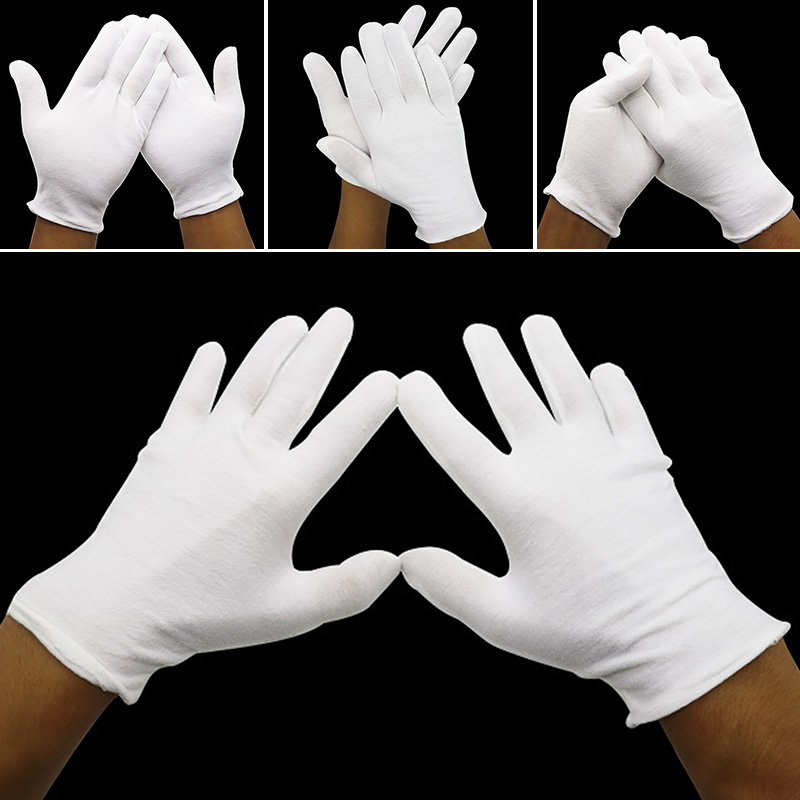 White Safety Gloves Cotton Work Protective Gloves For Male/Female/Serving/Waiters/drivers/Jewelry Labor Protection Etiquette