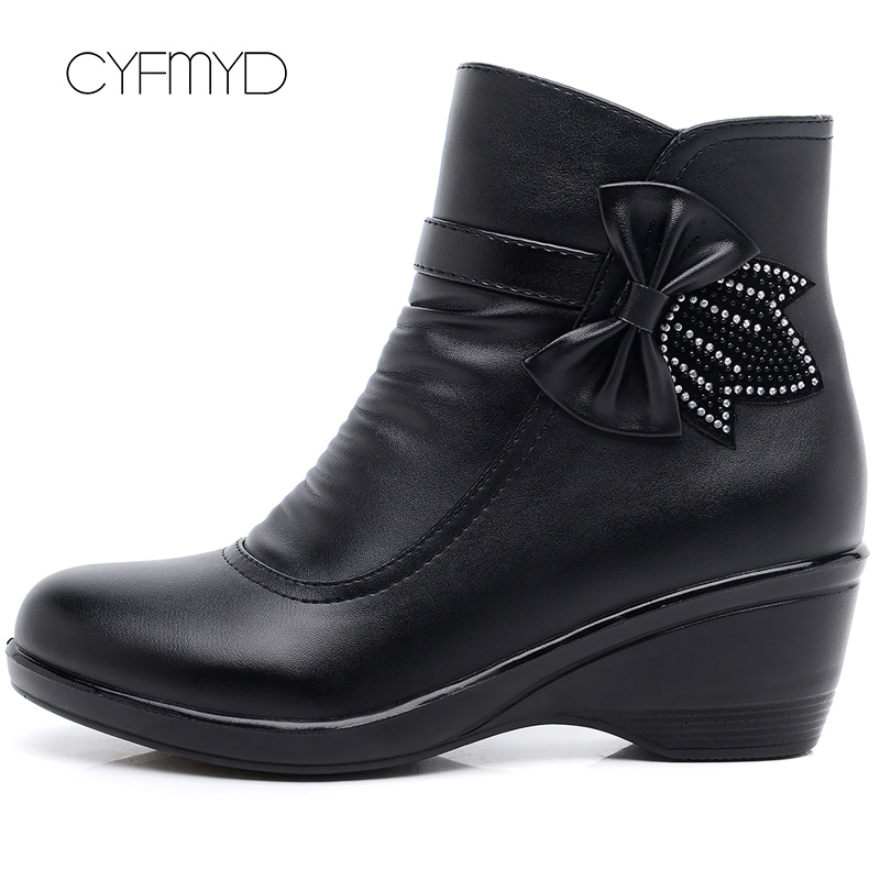 Image 4 - Booties woman 2019 new butterfly knot ankle boots for women shoes winter boots short plush fashion zip female boot big size 41-in Ankle Boots from Shoes