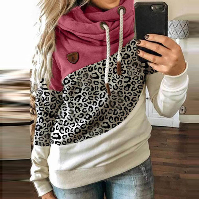 5XL Leopard Patchwork Hooded Sweatshirt Women 2020 Autumn Winter Long Sleeve Hoodies tops Female Drawstring pullovers Harajuku 2