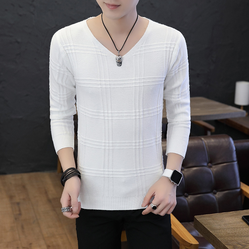 White Men Sweaters Gray Black V-Neck Coffee Wine Red Slimming Long-sleeved Head Spring Sweater Men Autumn Beige