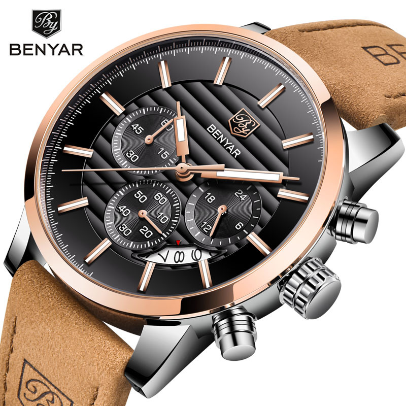 <font><b>Benyar</b></font>/Jacobin <font><b>5104</b></font> Hot Selling Quartz Watch MEN'S Watch Fashion Genuine Leather Calendar Multi-functional Watch image