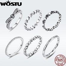 WOSTU gran oferta 925 anillos de plata esterlina para las mujeres europeo Original boda moda anillo de marca regalo de joyería