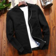 Men's Casual Jacket Autumn Spring Thin Zipper Coat Fashion Solid Slim Fits Jacket Male Clothing M~4XL