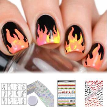 Nail Stickers Fires Flame Print Nail Art Stickers Adhesive Decal Removable Manicure Decorationnails look fascinating attractive image